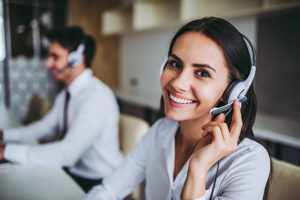 friendly customer support associate on the phone