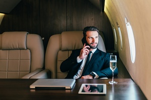 man on a private aviation plane