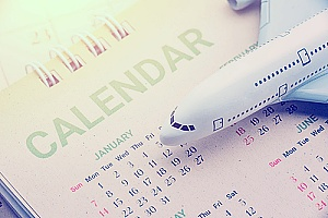 Business itinerary planning on calendar